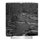 Country Stream Bw Shower Curtain