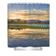 Country Sunset Reflection Shower Curtain