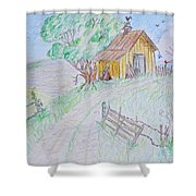 Country Woodshed Shower Curtain by Debbie Portwood