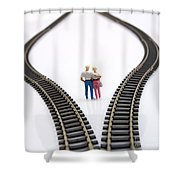 Couple Two Figurines Between Two Tracks Leading Into Different Directions Symbolic Image For Making Decisions Shower Curtain