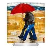 Couple Under A Red Umbrella Shower Curtain