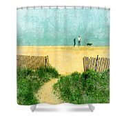 Couple Walking Dog On Beach Shower Curtain by Jill Battaglia