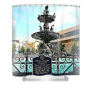 Court Square Fountain Shower Curtain