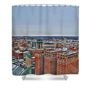 Courthouse And Statler Towers Winter Shower Curtain