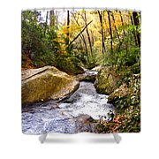 Courthouse River In The Fall 2 Shower Curtain