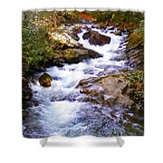 Courthouse River In The Fall Filtered Shower Curtain