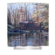 Covered Bridge At Lake Roaming Rock Shower Curtain