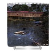 Covered Bridge In The Rain Shower Curtain