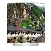 Covered Stairway To The Pindaya Caves Shower Curtain