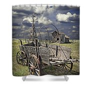 Covered Wagon And Farm In 1880 Town Shower Curtain