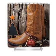 Cowboy Boots And Christmas Ornaments Shower Curtain