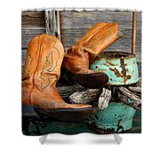 Cowboy Boots Western Still Life Shower Curtain