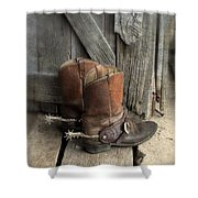 Cowboy Boots With Spurs Shower Curtain
