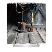 Cowboy Hat Boots Lasso And Rifle Shower Curtain