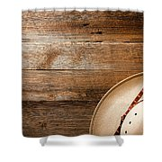 Cowboy Hat On Wood Shower Curtain
