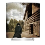 Cowboy Walking By Barn Shower Curtain