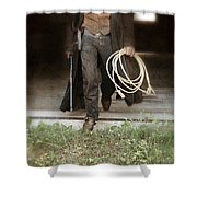 Cowboy With Guns And Rope Shower Curtain