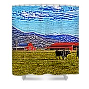 Cows Pasture Barns Superspecialeffect Shower Curtain