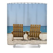Cozumel Mexico Poster Design Beach Chairs And Blue Skies Shower Curtain