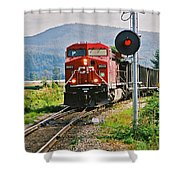 Cp Coal Train And Signal Shower Curtain