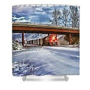 Cp Rail Coal Train Under Bridge Hdr Shower Curtain