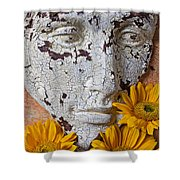 Cracked Face And Sunflowers Shower Curtain