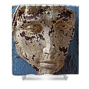 Cracked Face On Blue Wall Shower Curtain