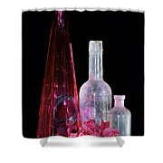 Cranberry And White Bottles Shower Curtain