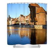 Crane In The Old Town Of Gdansk Shower Curtain