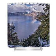 Crater Lake And Approaching Clouds Shower Curtain