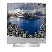 Crater Lake And Fresh Snow Panorama Shower Curtain