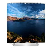 Crater Lake Minus Trees Shower Curtain