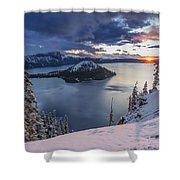 Crater Lake Snow Sunrise Shower Curtain