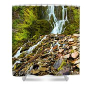 Crater Lake Waterfall Shower Curtain