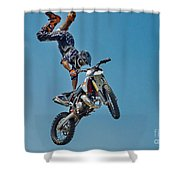 Crazy Motorcycle Rider Shower Curtain