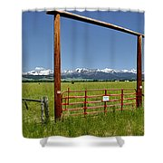 Crazy Mountain Ranch Gate Shower Curtain