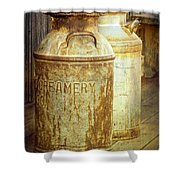 Creamery Cans In 1880 Town No 3098 Shower Curtain
