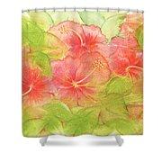Creamsicle Hibiscus Shower Curtain