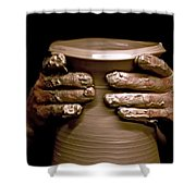 Creation At The Potter's Wheel Shower Curtain by Rob Travis