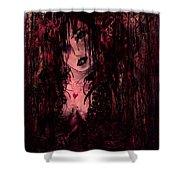 Crimson Torn Lace Shower Curtain