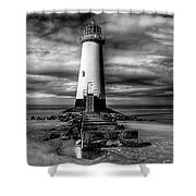 Crooked Lighthouse Shower Curtain by Adrian Evans
