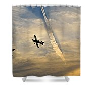 Crop Duster Under The Jet Trail Shower Curtain