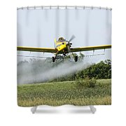 Crop Dusting Plane In Action Shower Curtain