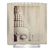 Cropped Stone Buddha Head Statue Shower Curtain by Lyn Randle
