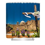 Cross At Mission San Jose Texas Shower Curtain