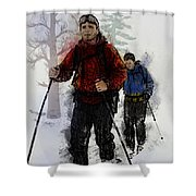 Cross Country Skiers Shower Curtain