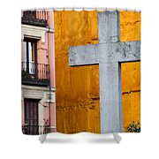 Cross In The City Of Madrid Shower Curtain