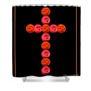 Cross Of Red And Orange Roses Shower Curtain