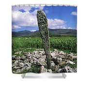 Cross Slab, Dingle Peninsula, Co Kerry Shower Curtain by The Irish Image Collection