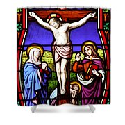 Cross Stained Glass Shower Curtain
